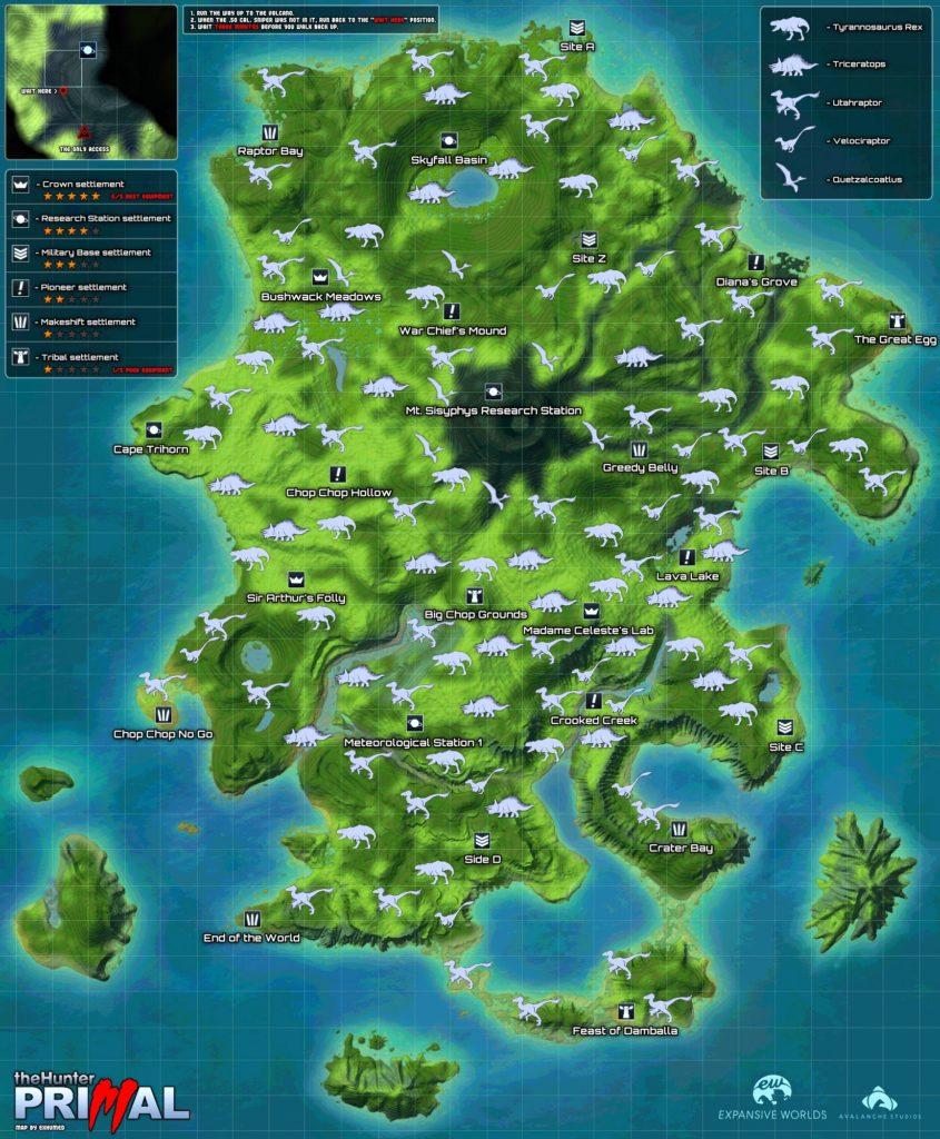 Карта острова Primal Eden