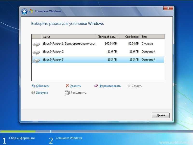 Установка Windows 7. Все разделы созданы