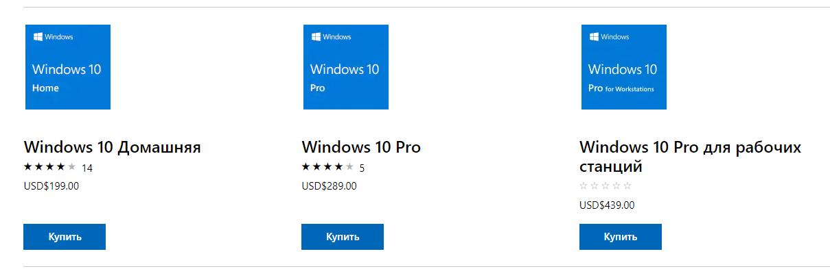 Стоимость операционных систем Windows 10