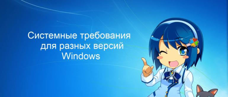 Системные требования для разных версий Windows
